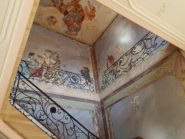 Staircase mural baroque, architecture buildings.
