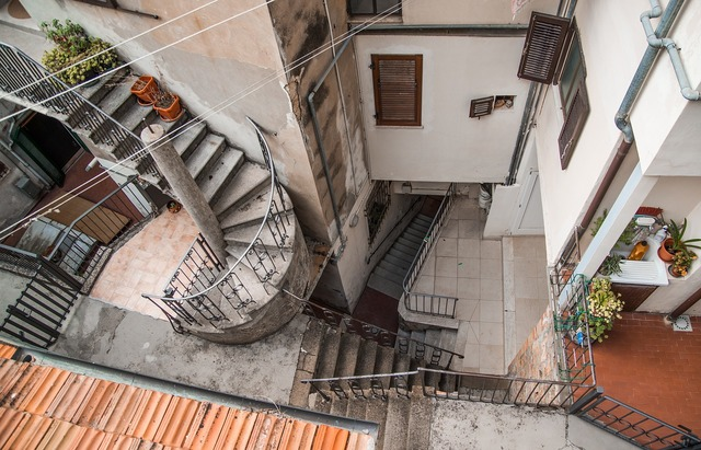 Staircase round roof, architecture buildings.