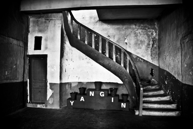 Stairs black and white door, architecture buildings.