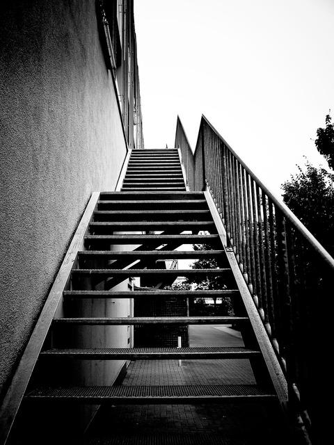 Stairs metal gradually.