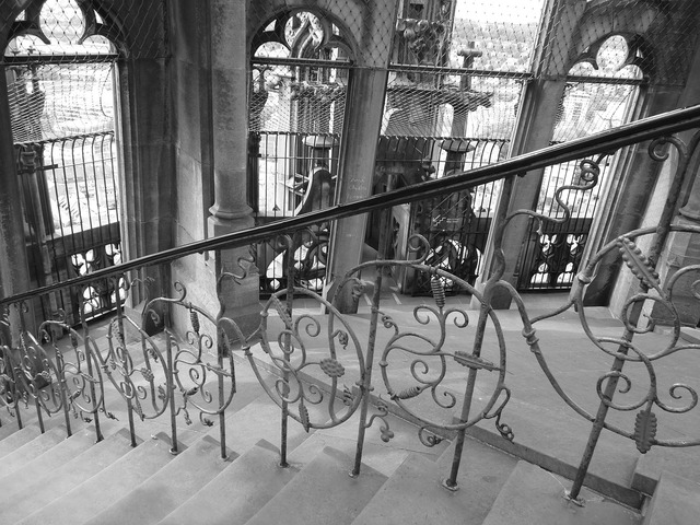 Stairs railing ulm cathedral, architecture buildings.