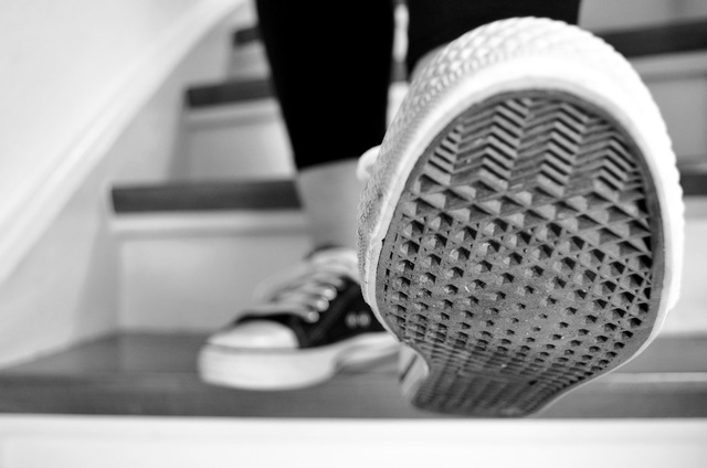 Stairs shoes sneakers.