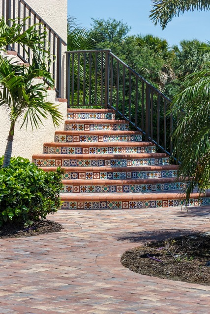 Stairway exterior tile, architecture buildings.