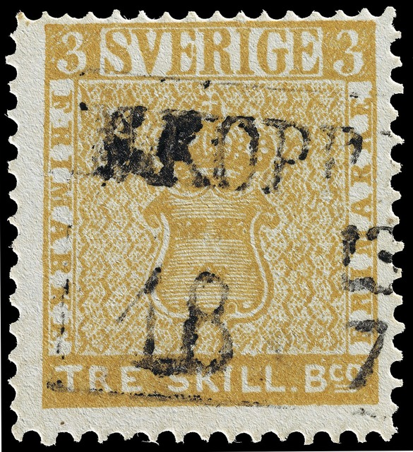 Stamp tre skilling banco error swedish.