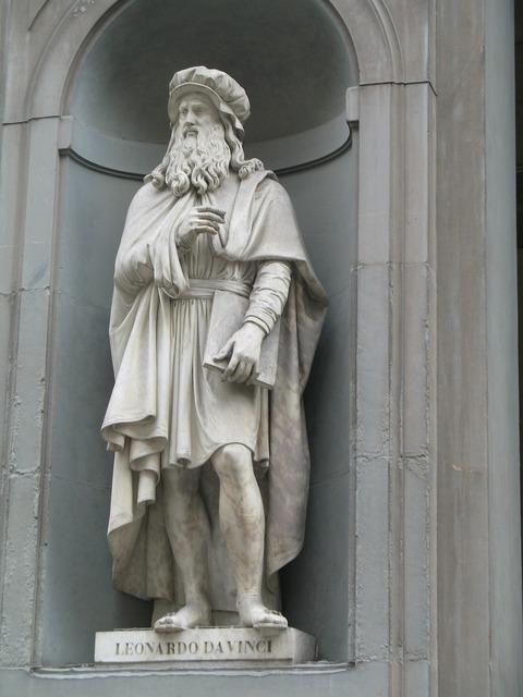 Statue davinci leonardo, architecture buildings.