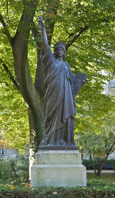 Statue liberty illuminating the world luxembourg garden, travel vacation.