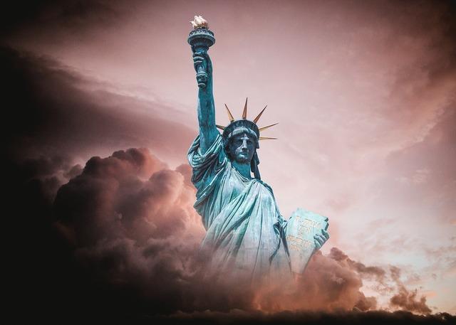 Statue of liberty turmoil political, emotions.