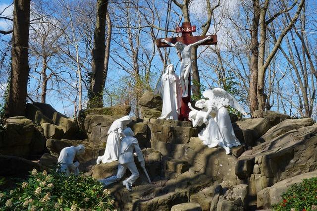 Statue white park, religion.