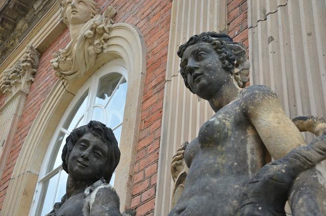 Statues sculpture stone figures, architecture buildings.