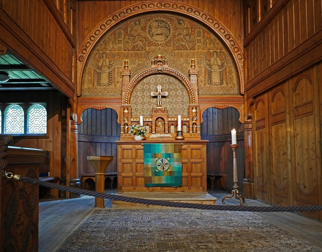Stave church sanctuary timber construction.