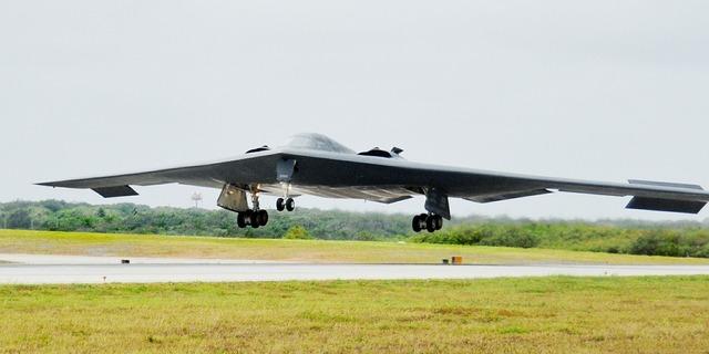 Stealth bomber military landing.