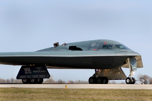 Stealth bomber military runway.