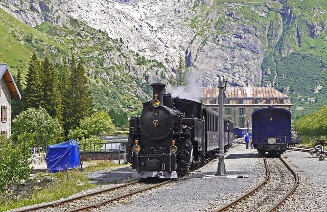 Steam railway furka-bergstrecke rhône glacier glacier bed, nature landscapes.