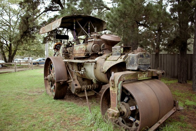 Steam roller old machine, transportation traffic.