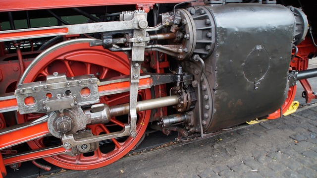 Steam train driving lubrication.