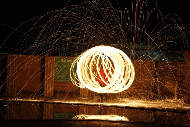 Steel wool fire light, architecture buildings.