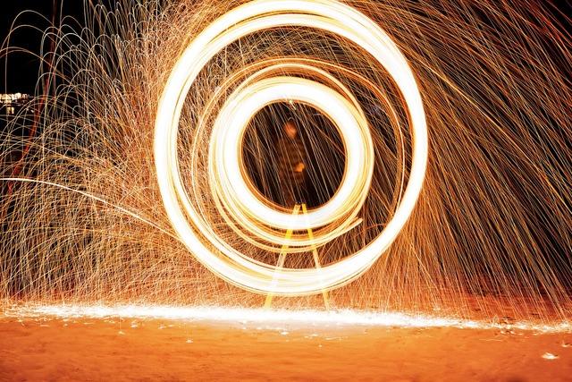 Steel wool fire sparks.