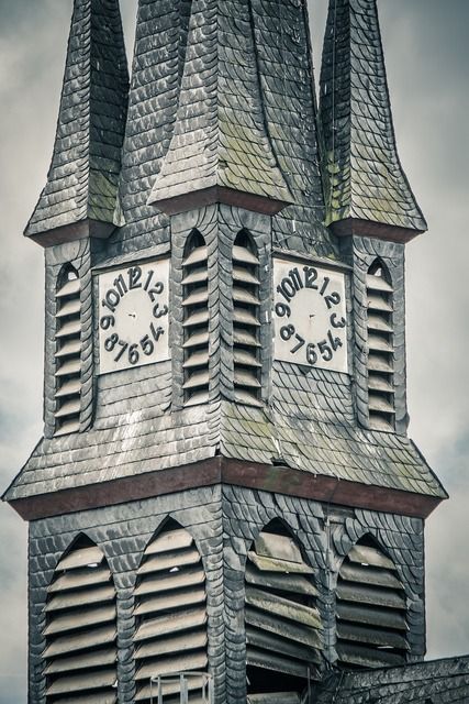 Steeple clock church, religion.