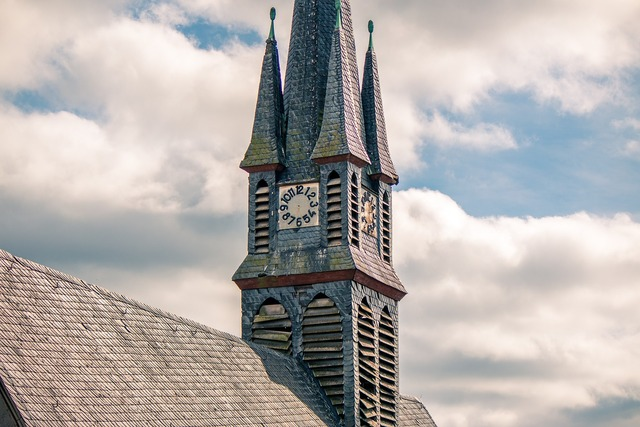 Steeple clock church, religion.
