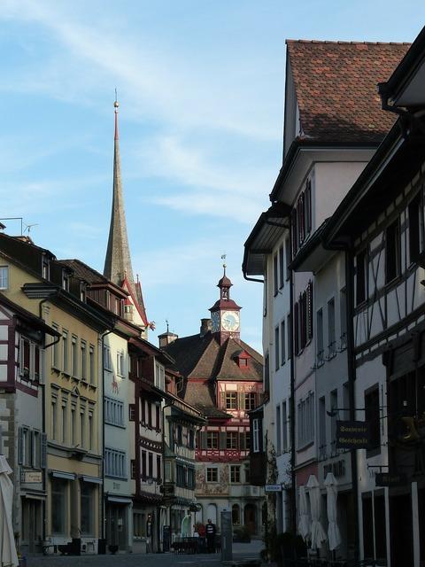 Stein am rhein pedestrian zone town hall, transportation traffic.