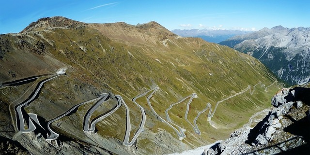 Stelvio yoke pass road mountain pass, transportation traffic.