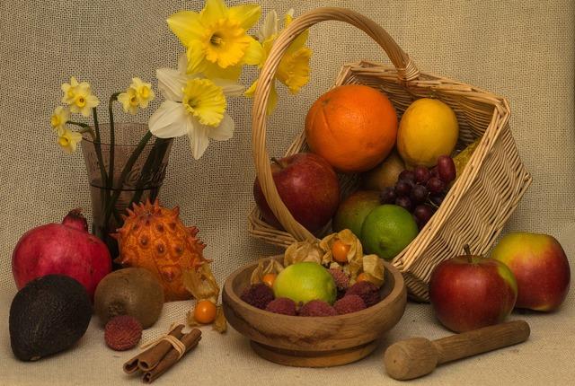 Still life fruits basket, food drink.