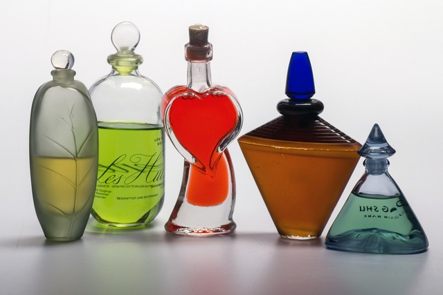 Still life perfume bottles.