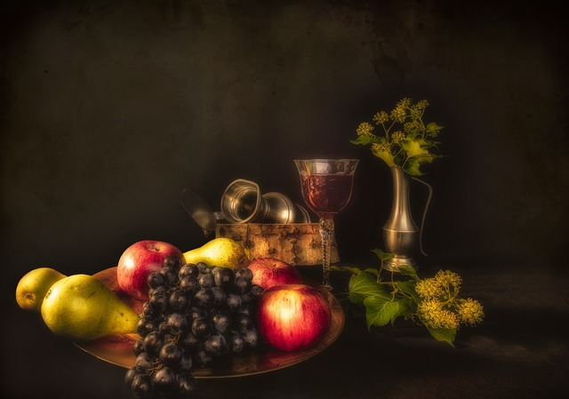 Still lifes fruit pears, food drink.