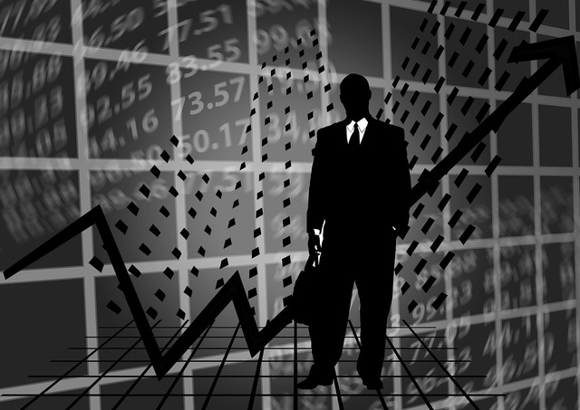 Stock exchange businessman silhouette, business finance.