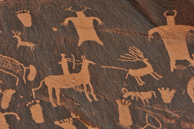 Stone age mural indians.