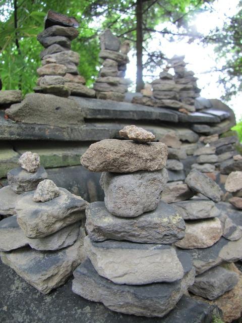 Stone boulder stone tower.