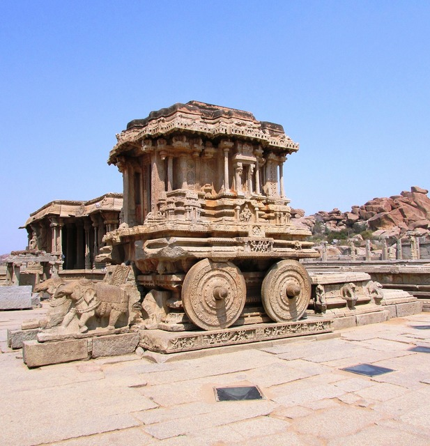 Stone chariot hampi india, places monuments.