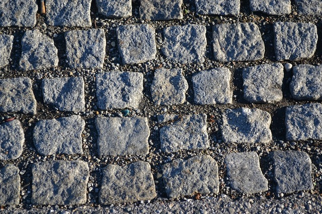 Stone cubes photography, transportation traffic.