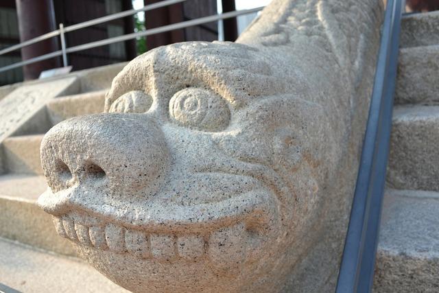 Stone statue haitai divine right.