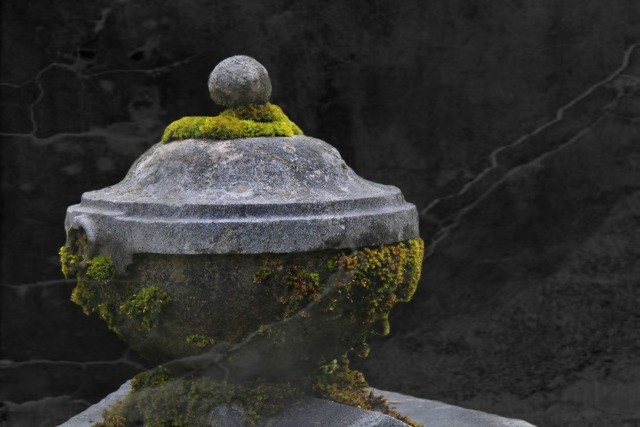 Stone urn grave tomb.