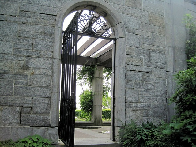Stone wall arched gate.