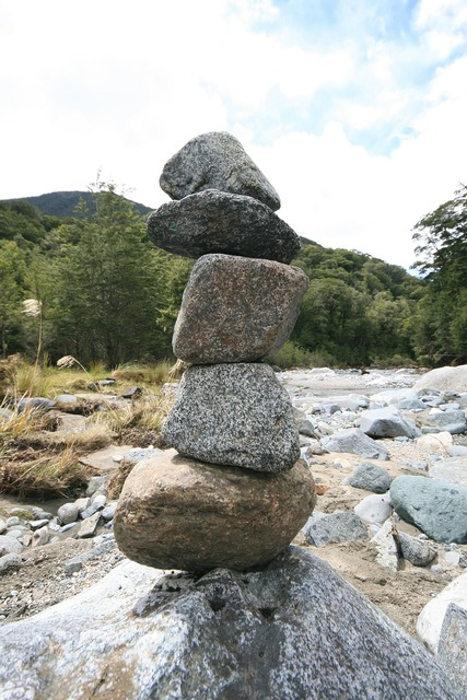 Stones stacked river, backgrounds textures.