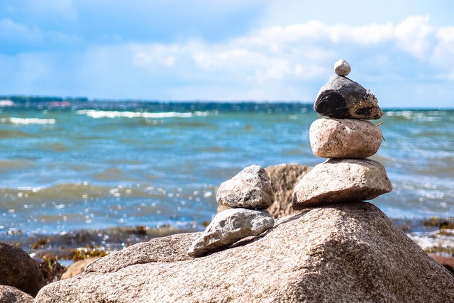 Stones stone tower beach, travel vacation.