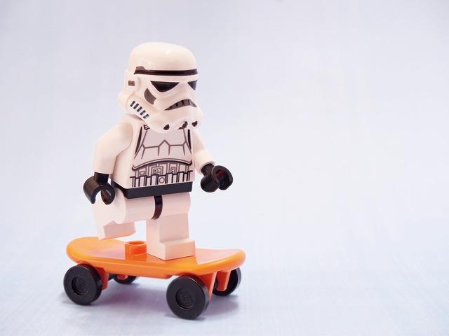 Stormtrooper skateboard lego, transportation traffic.