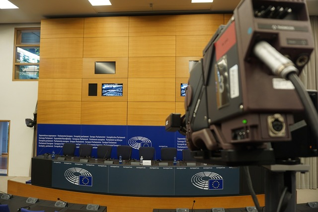 Strasbourg european parliament press conference, architecture buildings.