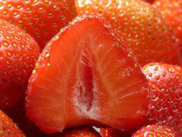 Strawberries cut in half fruity, food drink.
