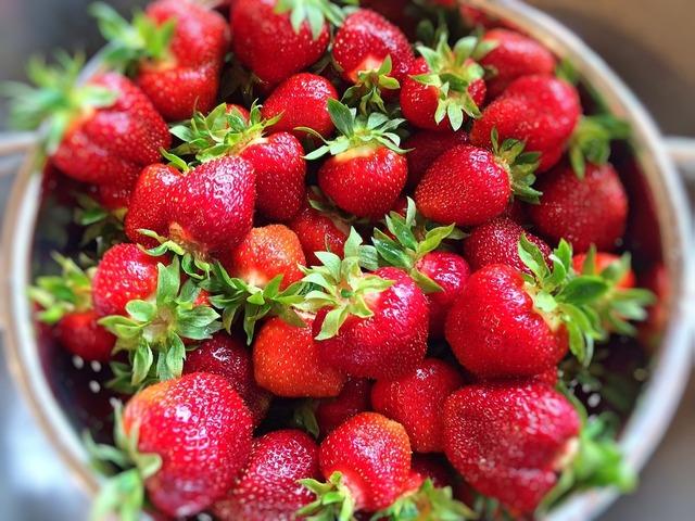 Strawberries fruit fresh, food drink.