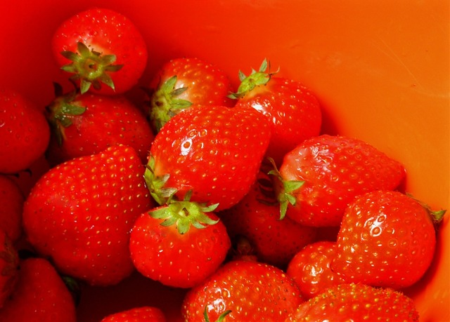Strawberries fruits red, food drink.