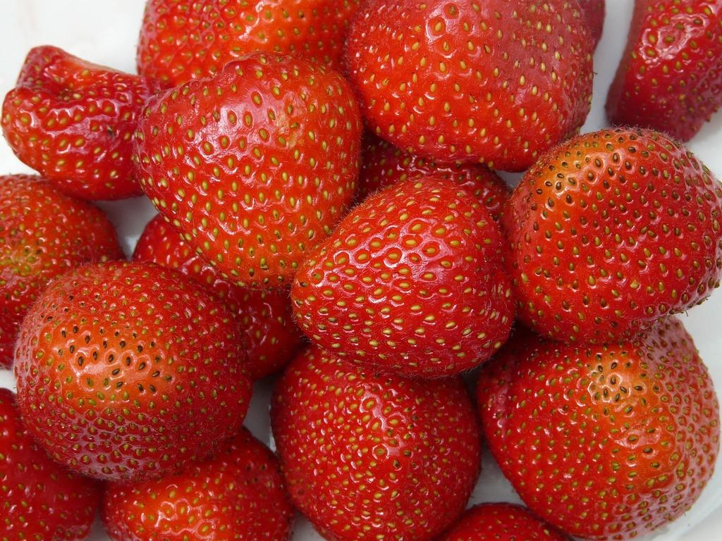 Strawberries fruity red, food drink.