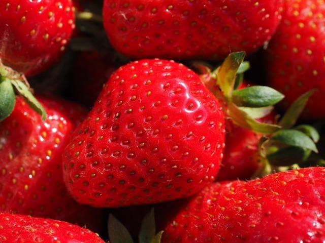 Strawberries red fruity, food drink.