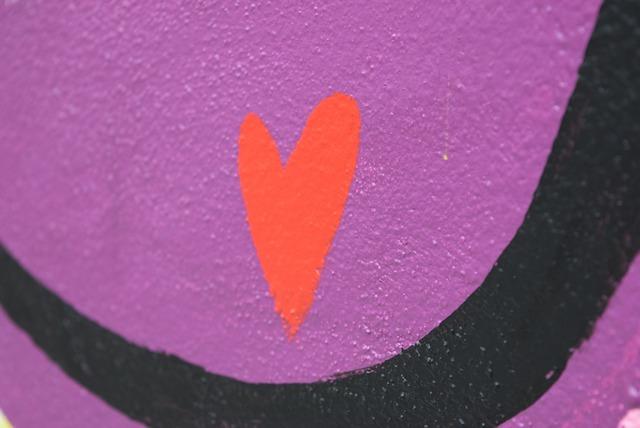 Street art heart wall.