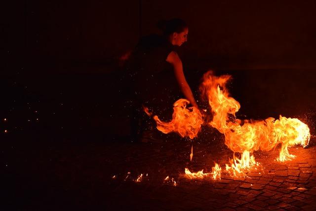 Street artists fire fire eaters.