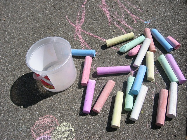 Street chalk chalk colorful, people.