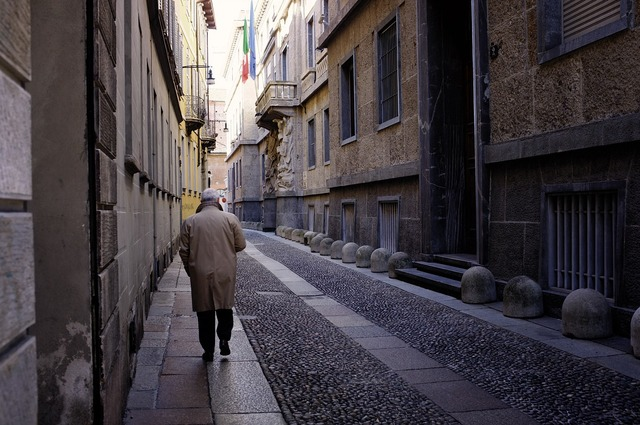 Street man milan, transportation traffic.