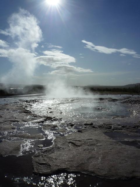 Strokkur geyser iceland, nature landscapes.